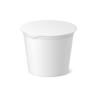 Vector realistisch yoghurt, ijs of zure roompakket