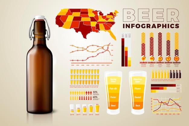 Vector realistische 3d bierfles met zakelijke infographics, pictogrammen en grafieken geïsoleerd op lichte achtergrond.