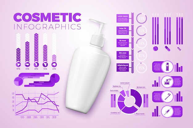 Vector realistische 3d crème fles, met zakelijke infographics, pictogrammen en grafieken geïsoleerd op lichte achtergrond.