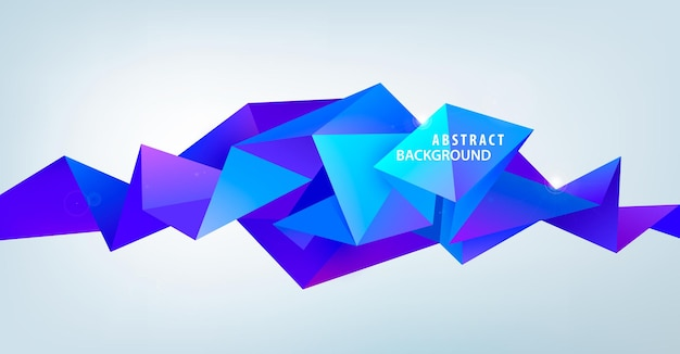 Vector realistische abstracte 3d-vorm. gefacetteerde horizontale achtergrond, ontwerpelementen. futuristische stijl banner, poster.