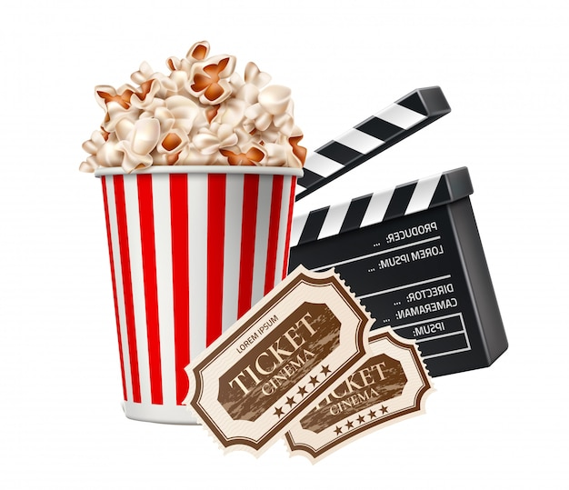 Vector realistische bioscoop poster popcorn klepel bord tickers