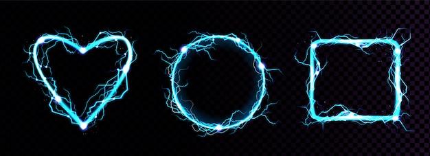 Vector realistische blauwe elektrische bliksemframes