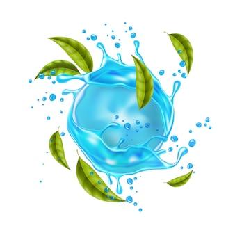 Vector realistische blauwe water splash muntblaadjes
