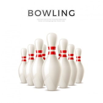 Vector realistische bowling kegel pinnen 3d-pictogram