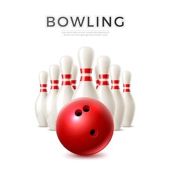 Vector realistische bowlingbal en kegelvormige pinnen.