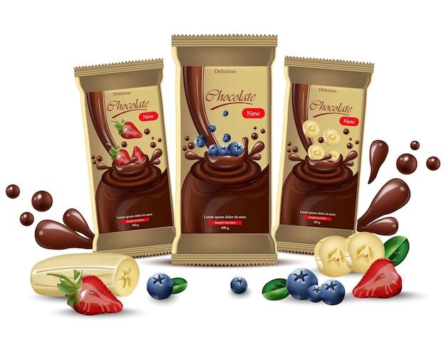 Vector realistische chocolade spot omhoog. product verpakking labelontwerp. bosbes, aardbei