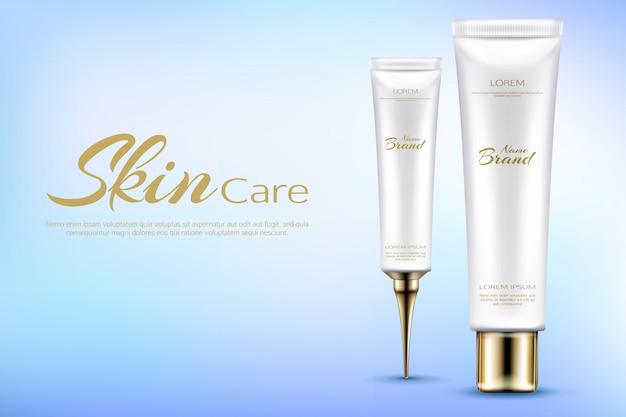Vector realistische cosmetische promobanner voor het bevochtigen van schoonheidsmiddelen.