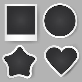Vector realistische fotolijsten. verschillende vormen. klassiek vierkant, ster, cirkel, hart.