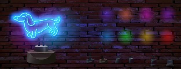 Vector realistische geïsoleerde hond neon teken op stand