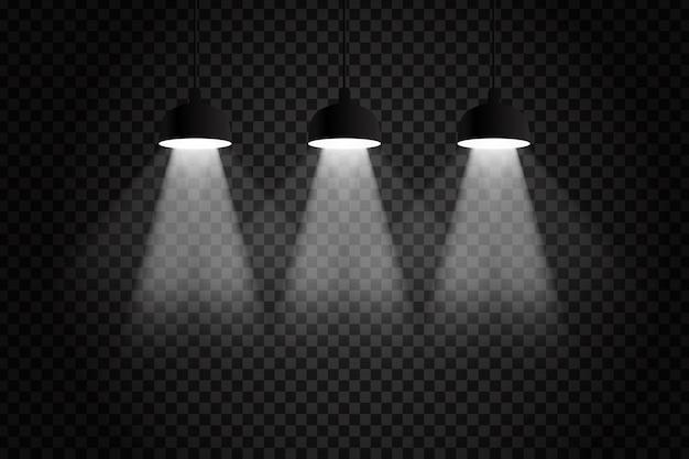 Vector realistische geïsoleerde plafondlampen voor decoratie en bekleding op de transparante ruimte.