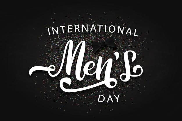 Vector realistische geïsoleerde poster met confetti en belettering voor internationale mannendag