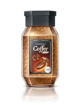 Vector realistische instant gegranuleerde koffiekanadvertentie