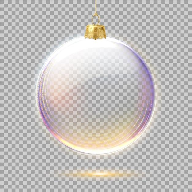 Vector realistische kerstboom speelgoed opknoping met gouden en paarse glitter.