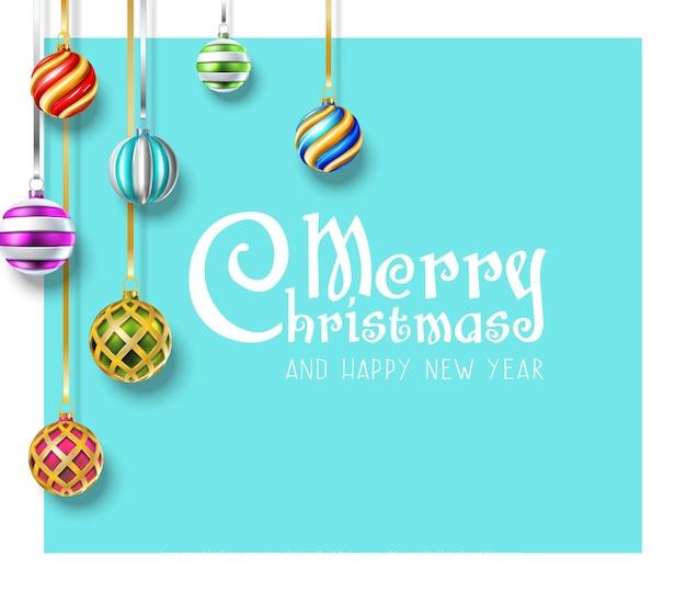 Vector realistische kerstmis en nieuwjaar achtergrond banner flyer wenskaart briefkaart vierkant o