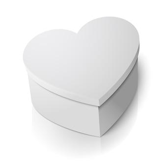 Vector realistische lege grote witte hart vorm doos geïsoleerd op een witte achtergrond met reflectie. voor uw valentijnsdag of liefde presenteert ontwerp.