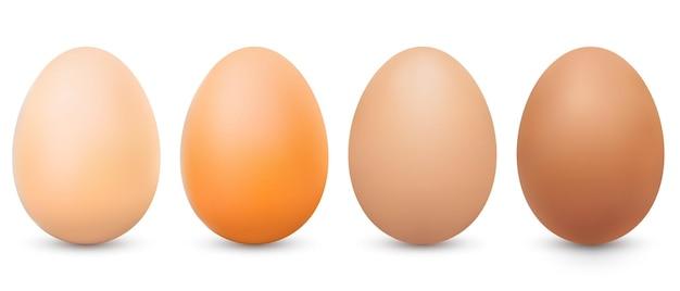 Vector realistische lichtbruine en donkerbruine eieren set vooraanzicht 3d hele kippeneieren