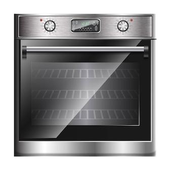 Vector realistische moderne oven, multifunctioneel fornuis met aanraakmenu en timer in vooraanzicht.