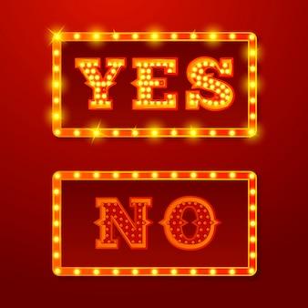 Vector realistische set van gloeiende ja en nee tekenen met lampen op rode achtergrond.