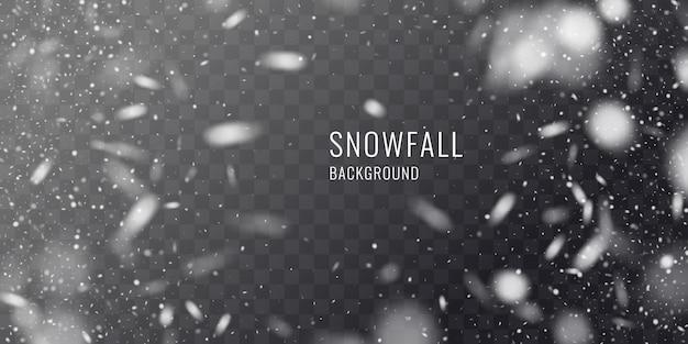 Vector realistische sneeuwval tegen een donkere achtergrond. transparante elementen voor winterkaarten en poster.
