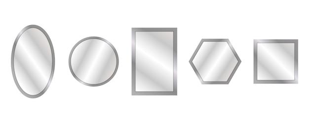 Vector realistische spiegels ingesteld met wazige reflectie.