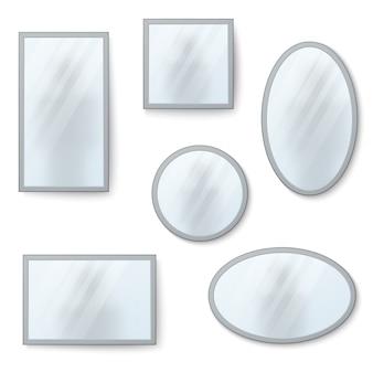 Vector realistische spiegels instellen met wazige reflectie