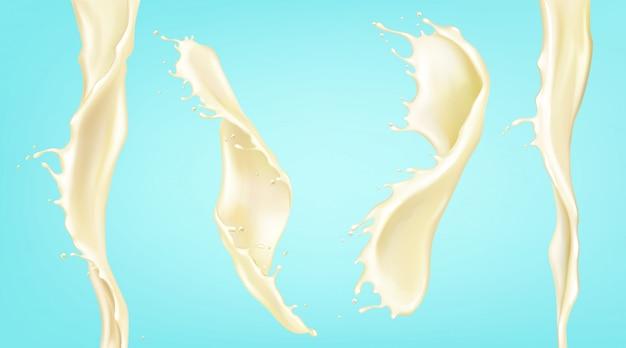Vector realistische splash en stroom van vanille melk