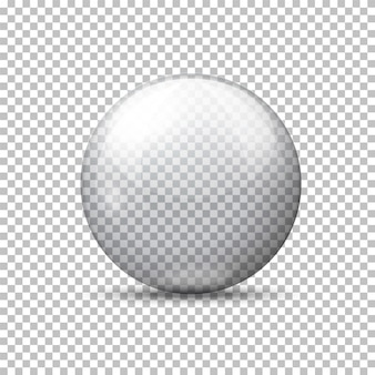 Vector realistische transparante bal, op geruite achtergrond.