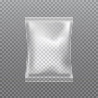 Vector realistische transparante kussen tas geïsoleerd op transparant.