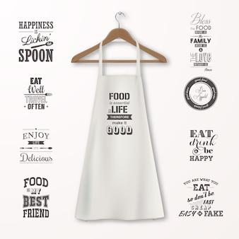 Vector realistische witte katoenen keukenschort met houten kledinghanger en citaten over voedsel set close-up geïsoleerd op wit. ontwerpsjabloon, mock-up voor branding, afbeeldingen, reclame, afdrukken.