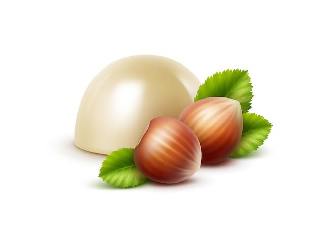 Vector realistische witte melkchocolade snoep met hazelnoten op wit
