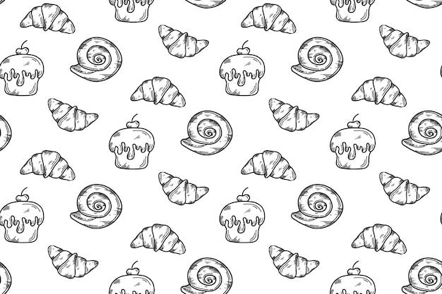 Vector rechthoekig patroon met croissants, cupcake, broodje in doodle stijl.