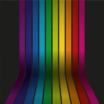 Vector regenboog gekleurde muur met vloer