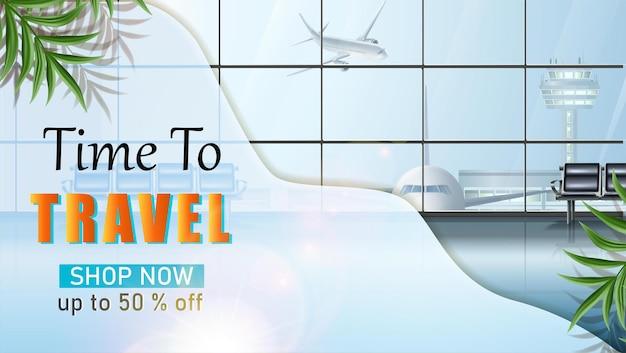 Vector reizen banner reis toeristische achtergrond met luchthaven wachtruimte