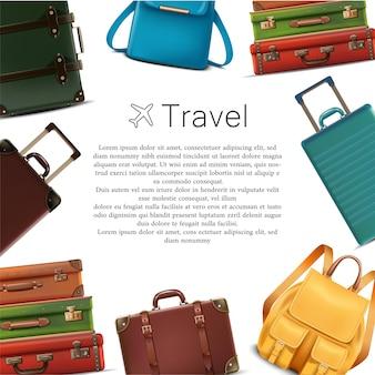 Vector reizen banner zomer reis concept met bagage rond