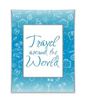 Vector reizen rond de wereld banner vijfde hand getekende frame met zomerelementen en witte kopie spa