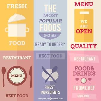 Vector restaurant posters vlakke stijl