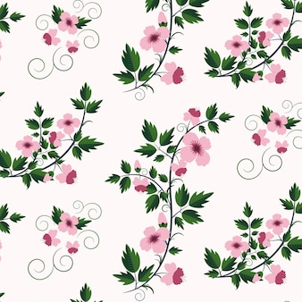 Vector retro bloemenpatroon met bloemen