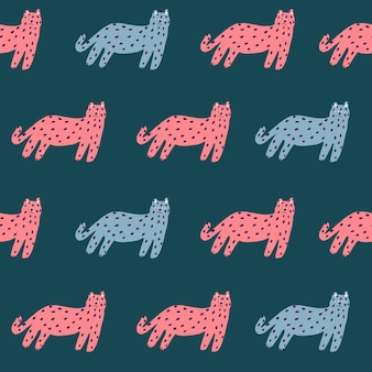 Vector retro eenvoudige kat illustratie motief naadloze herhaling patroon digitale artwork home decor print