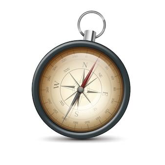 Vector retro metalen zak kompas vooraanzicht geïsoleerd op een witte achtergrond