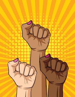 Vector retro pop-art komische stijl illustratie van vrouwen vuist verschillende nationaliteiten en huidskleur. de kracht van het meisje