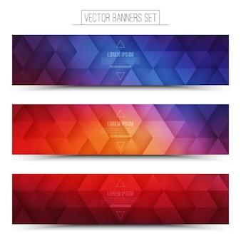 Vector retrowave-geplaatste banners