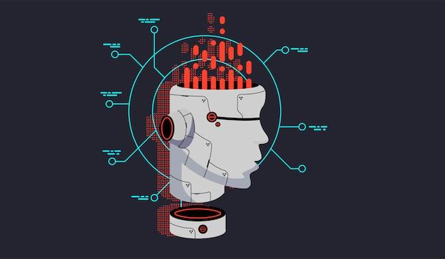 Vector robot hoofd.