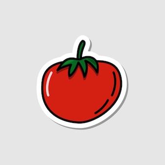Vector rode biet sticker in cartoon-stijl plat eenvoudig pictogram met zwarte lijnen