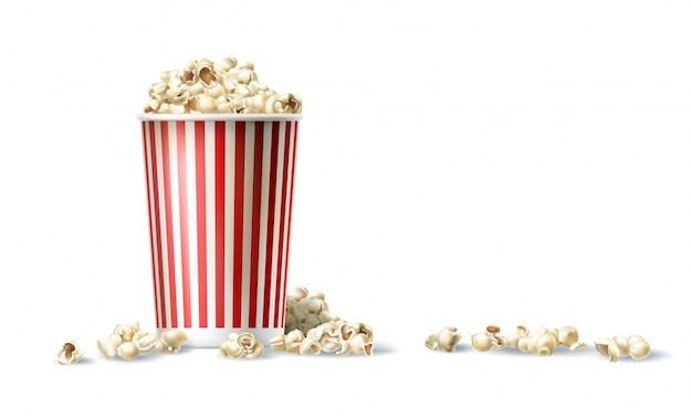 Vector rode en witte kartonnen emmer met popcorn in realistische stijl