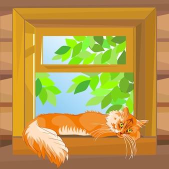 Vector rode gestreepte kat die op de vensterbank ligt