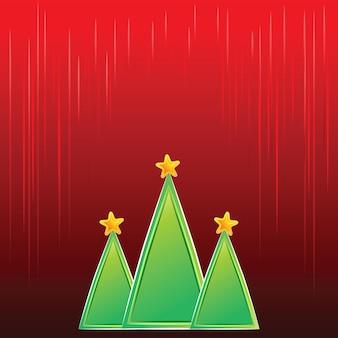 Vector rode kerst achtergrond met groene kerstbomen