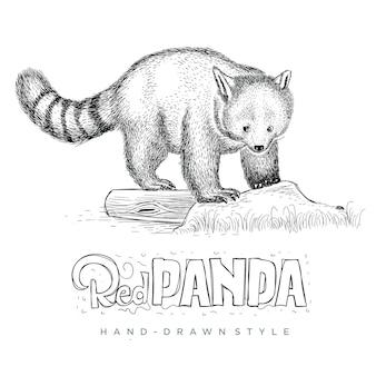 Vector rode panda op zoek schattig. hand getekend dier illustratie