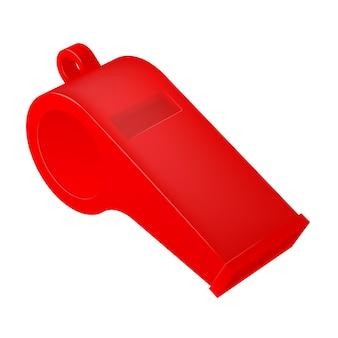 Vector rode scheidsrechter fluitje - geïsoleerd op een witte achtergrond