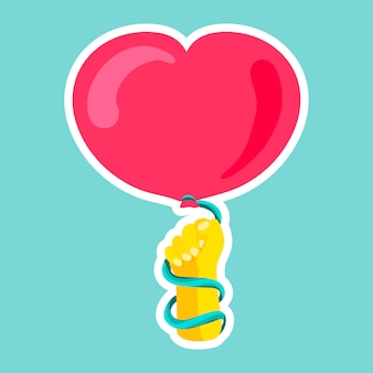 Vector romantische liefde patch in doodle stijl