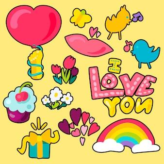 Vector romantische liefde patches set in doodle stijl met vorm
